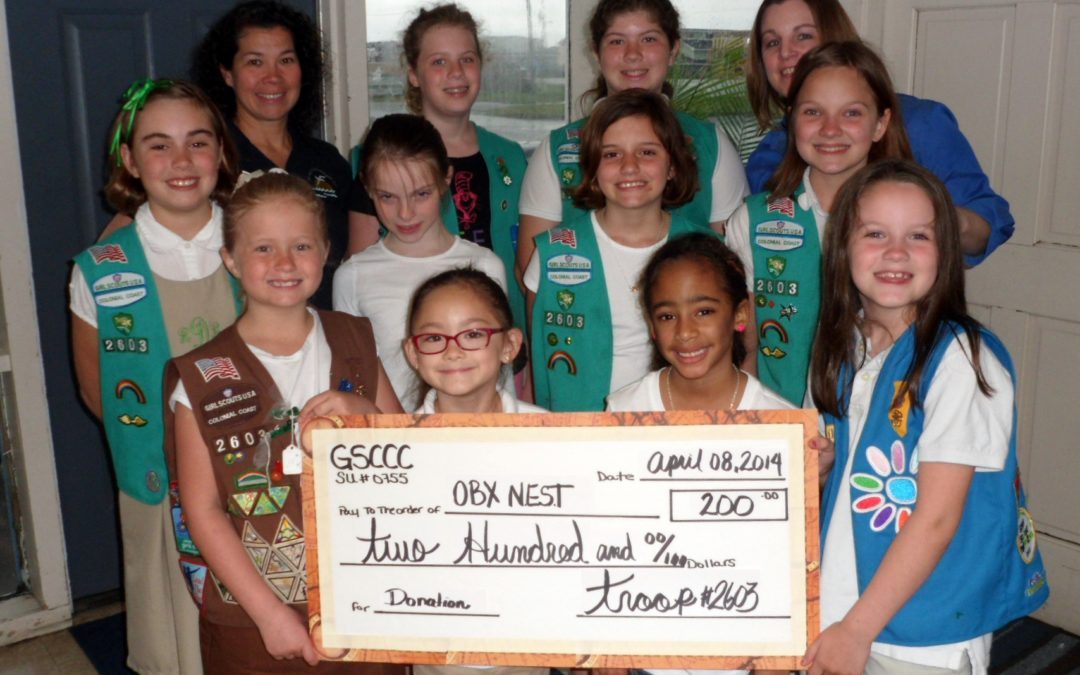 Girl Scout Troop #2603 Donates to N.E.S.T.