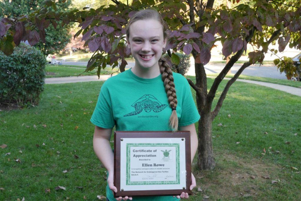 Ellen with her NEST appreciation certificate
